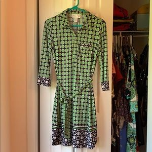 Donna Morgan Geo Print Collared, Belted Dress CUTE